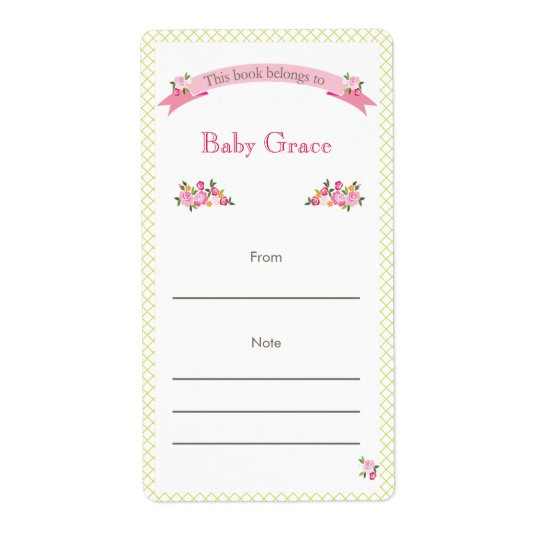 Green and Pink Floral Bookplate Shipping Label