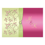 Green and Pink Floral Monogrammed Invitation