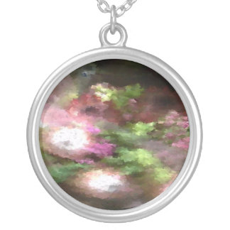 Green and Pink Floral Personalized Necklace