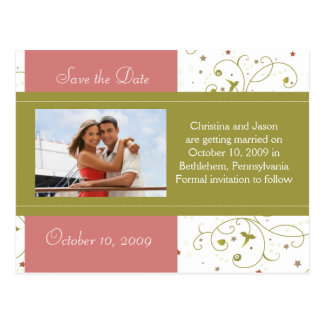 Green and Pink Floral Save the Date Announcement Postcard