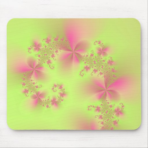 Green and Pink Floral Spiral Mousepad