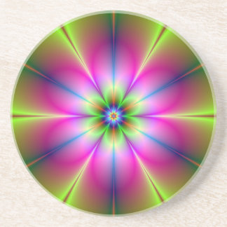 Green and Pink Flower Coaster