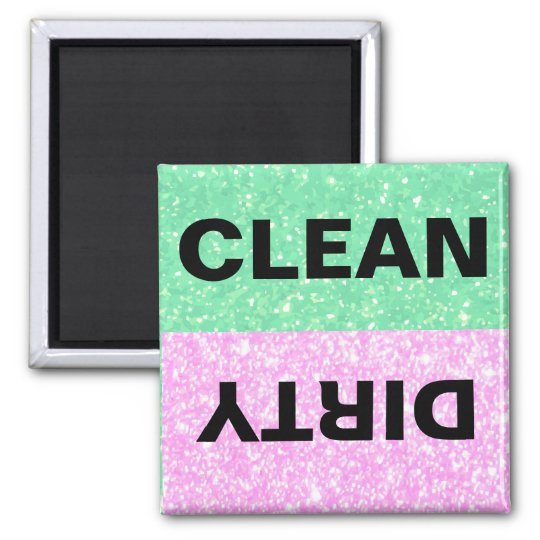 Green and Pink Glitter Clean-Dirty Square Magnet