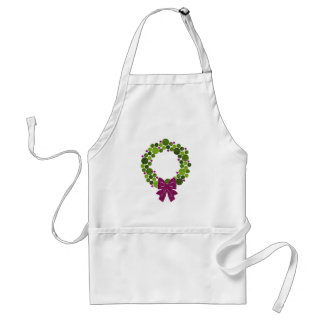 Green and Pink Glittery Wreath of Ornaments Standard Apron