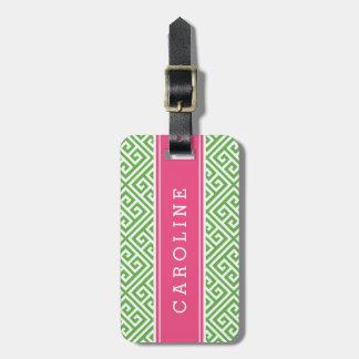 Green and Pink Greek Key Custom Monogram Luggage Tag