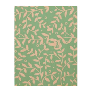 """Green and pink leaves 11""""x14"""" Wood Wall Art Wood Prints"""