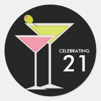 Green and Pink Martinis Round Sticker