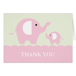 Green and Pink Mum and Baby Elephants Note Card