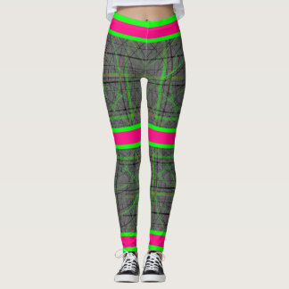 Green and Pink Neon Fun Leggings