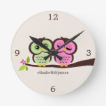 Green and Pink Owl Couple