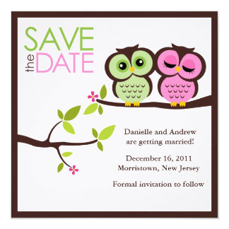 Green and Pink Owls Wedding 13 Cm X 13 Cm Square Invitation Card