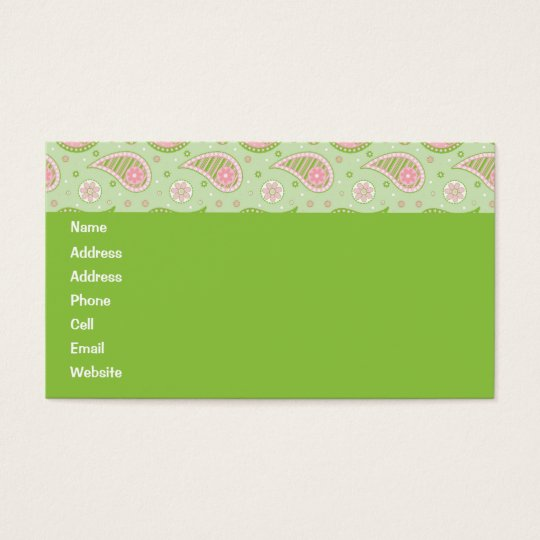 Green And Pink Paisley Profile Card
