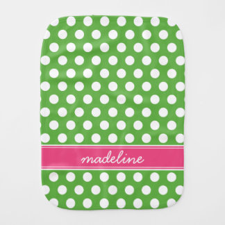 Green and Pink Polka Dots Monogram Burp Cloth