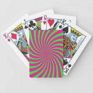 Green and Pink Retro Swirl Bicycle Card Decks