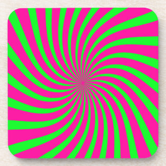 Green and Pink Retro Swirl Drink Coasters