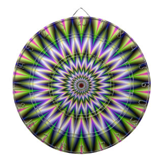 Green and Pink Star Flower Dartboard