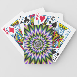 Green and Pink Star Flower Playing Cards