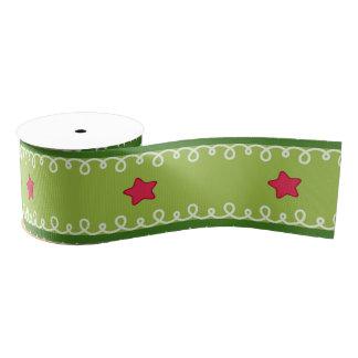 Green and Pink Stars Ribbon Grosgrain Ribbon