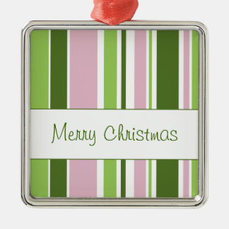 Green and Pink Stripes Christmas Ornament