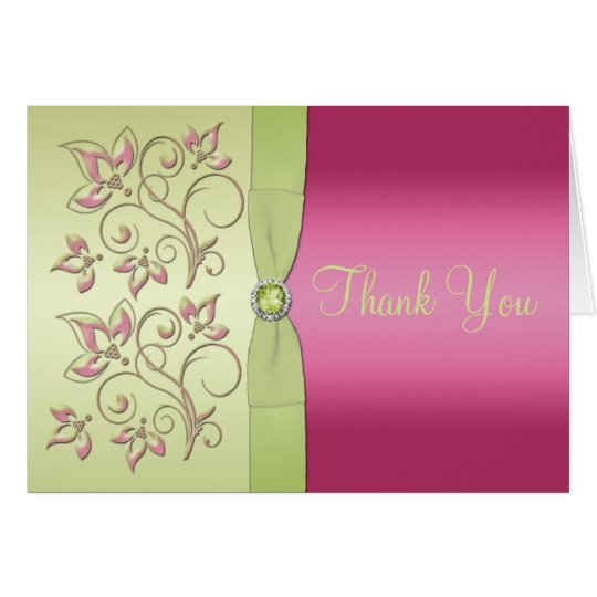Green and pink Thank You Note Card