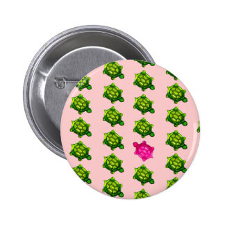 Green and Pink Turtle Pattern 6 Cm Round Badge