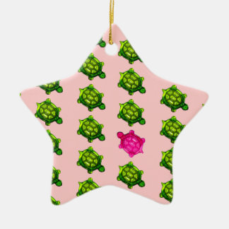 Green and Pink Turtle Pattern Christmas Ornament
