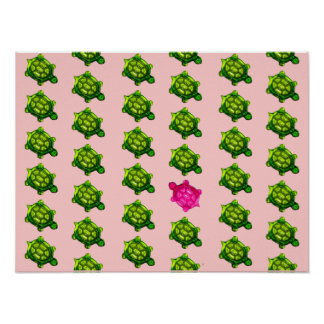 Green and Pink Turtle Pattern Poster