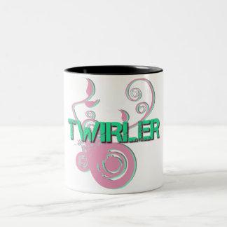 Green and Pink Twirler Two-Tone Coffee Mug