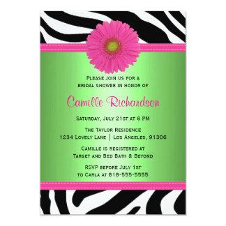 Green and Pink, Zebra Bridal Shower Invitation