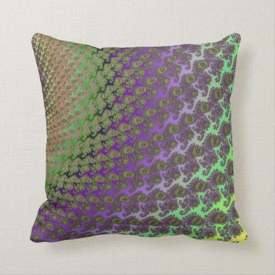 Green and Purple Abstract Fractal Throw Pillow