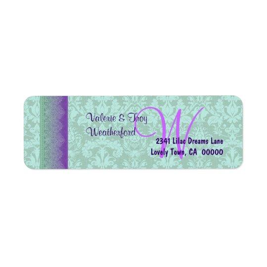 Green and Purple Damask Monogram Wedding V014