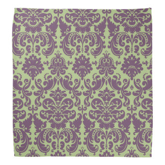 Green and Purple Elegant Damask Pattern Bandana