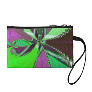 Green and purple fractal pattern coin purse