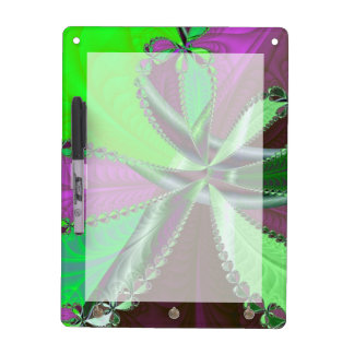 Green and purple fractal pattern dry erase board