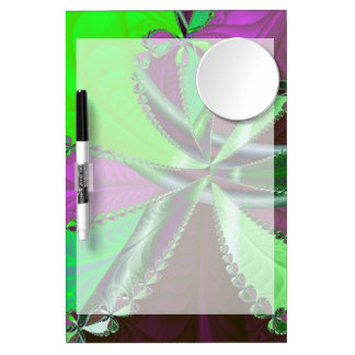 Green and purple fractal pattern dry erase board with mirror