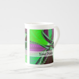Green and purple fractal pattern tea cup