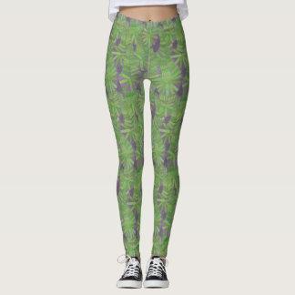Green and Purple Leafy Jungle Paisley Leggings