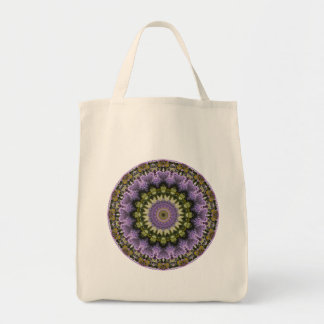 Green and Purple Lilac Mandala Grocery Tote Bag