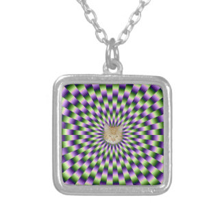 Green and Purple Links + Cat Silver Plated Necklace