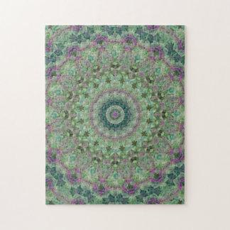 Green and Purple Mandala Kaleidoscope Jigsaw Puzzle