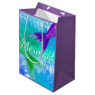 Green and Purple Mermaid Tails & Scales Medium Gift Bag