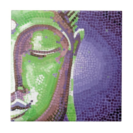 Green and Purple Mosaic Buddha Face Tile
