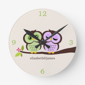 Green and Purple Owl Couple Wallclocks