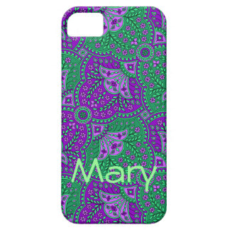 Green and Purple Paisley Barely There iPhone 5 Case