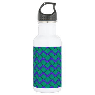 Green and Purple Paper Zig Zag 532 Ml Water Bottle