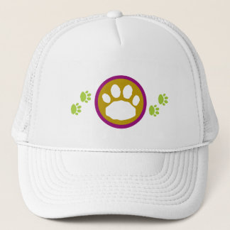 Green and Purple Paw Prints Trucker Hat