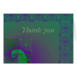 Green and purple peacock colours thank you card