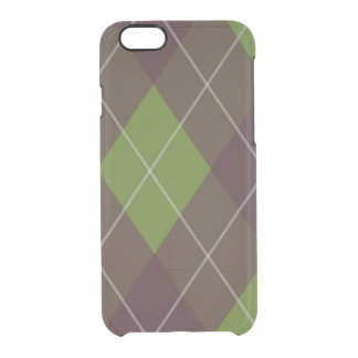 Green and Purple Plaid Clear iPhone 6/6S Case