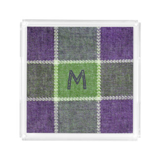 Green and Purple Plaid Flannel Texture Monogram Acrylic Tray