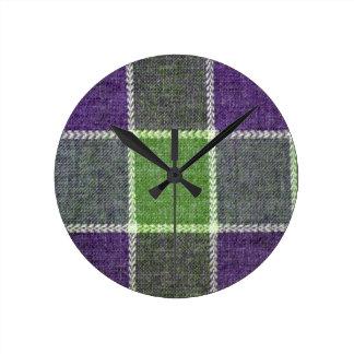 Green and Purple Plaid Wool Fabric Texture Clocks